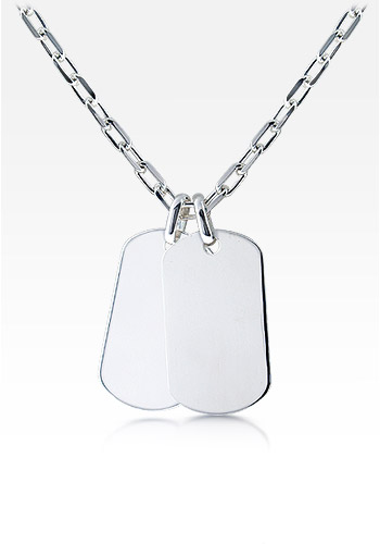 Mens Sterling Silver Double Large Smooth-Edge Dog Tag Necklace w/ Oval Link Chain (Engravable)