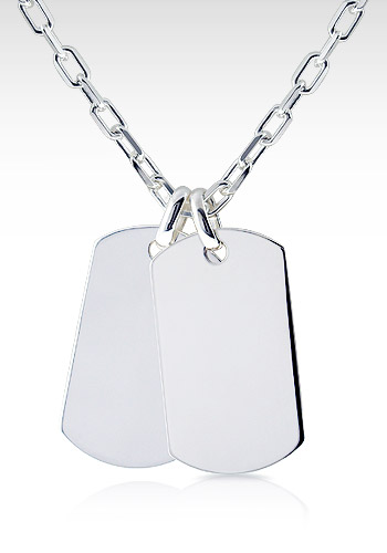 Mens Sterling Silver Double XL Dog Tag Necklace w/ Oval Link Chain (Engravable)