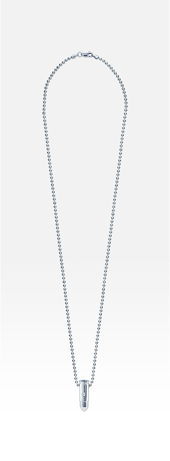 Mens Sterling Silver Single Diamond Bullet Necklace (Engraved)