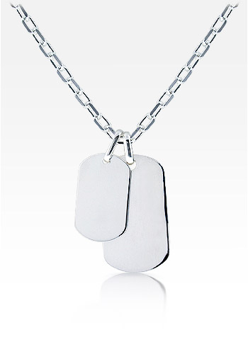 Mens Sterling Silver Large and Small Smooth Edge Dog Tag Necklace w/ Oval Link Chain (Engravable)
