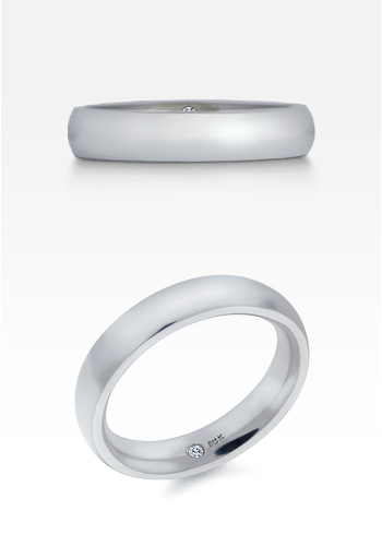 HIS� - Men's 18k White Gold 5 mm Comfort Fit Wedding Ring (Engravable)