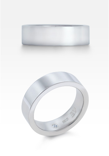 HIS� - Men's 7mm Sterling Silver Comfort-Fit Flat  Band Wedding Ring (Engravable)