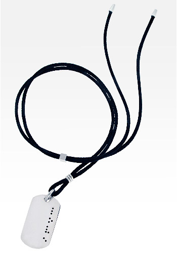 HIS� - Men's Black Diamond Braille LOVE Sterling Silver Dog Tag Necklace w/t Cord (Engravable)