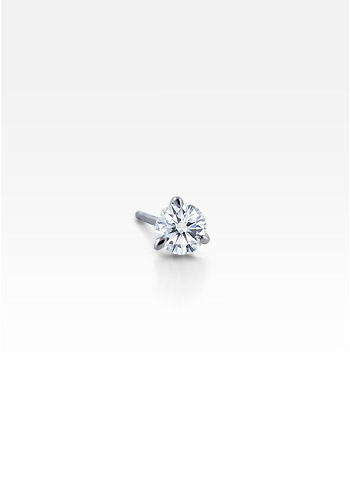 HIS� - Men's Single 14k White Gold Claw Prong Diamond Stud Earring (0.50 ctw.)