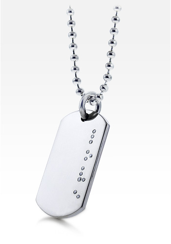 HIS - Mens Sterling Silver Diamond Braille LOVE Dog Tag Necklace w/ Ball Chain (Engravable)
