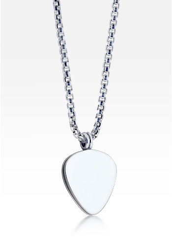 HIS - Mens Sterling Silver Signature Guitar Pick Necklace w/ Box Link Chain (Engravable)