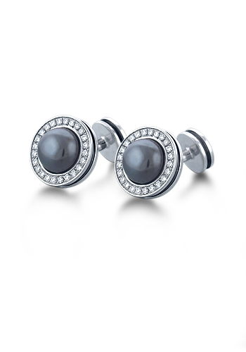 HIS� - Signature Hematite and Diamond Sterling Silver Cufflinks