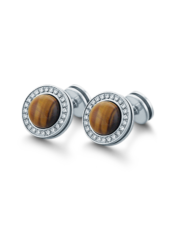 HIS� - Signature Tiger's Eye and Diamond Sterling Silver Cufflinks