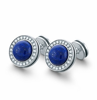 HIS� - Signature Lapis Lazuli and Diamond Sterling Silver Cufflinks