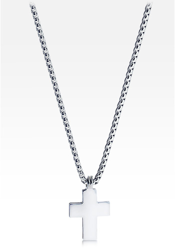 HIS� Signature - Men's Sterling Silver Block Cross Necklace w/t Box Link Chain  (Engravable)