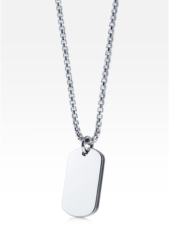 HIS - Mens Small Sterling Silver Signature Dog Tag Necklace w/ Box Link Chain (Engravable)