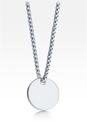 HIS - Mens Sterling Silver Disc Tag Necklace w/ Box Chain (Engravable)