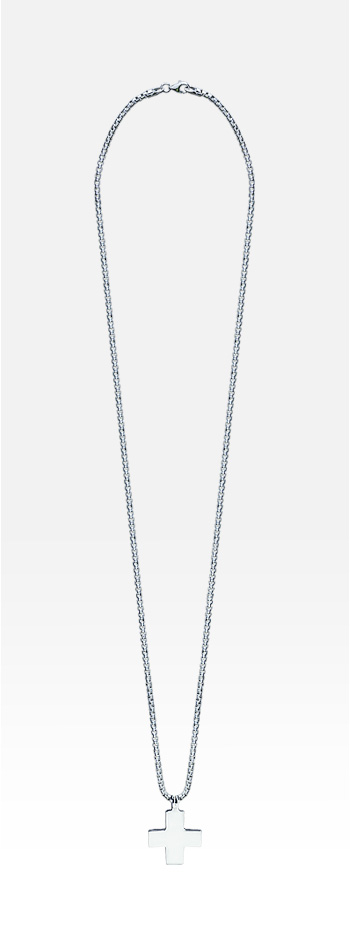 HIS� Signature - Sterling Silver Men's Greek Cross Necklace w/t Box Link Chain (Engravable)