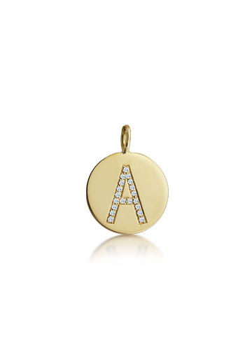 Kay Wicks - 1/2 inch, 14k Gold Mini Diamond Initial Disc Pendant (0.04 ctw)