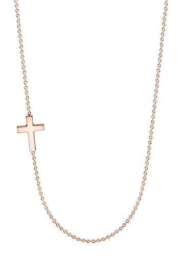 Kay Wicks - 1/2 inch Solid 14k Rose Gold Off-Center Sideways Cross Necklace