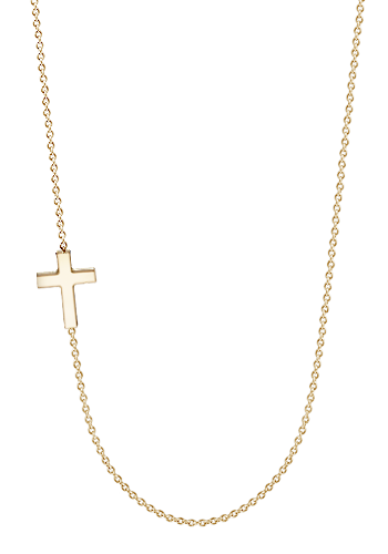Kay Wicks - 1/2 inch, Petite Off-Center 14k Gold Sideways Cross Necklace