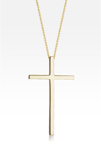 Kay Wicks - 1.5 inch, Long 14k Gold Block Cross Necklace