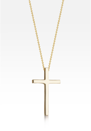 Kay Wicks - 1 inch, 14k Gold Cross Necklace