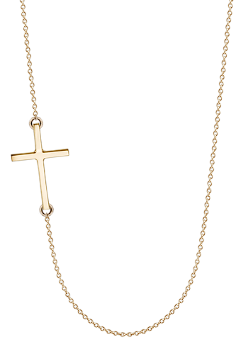 Kay Wicks - 1 inch, Solid 14k Gold Off-Center Sideways Cross Necklace