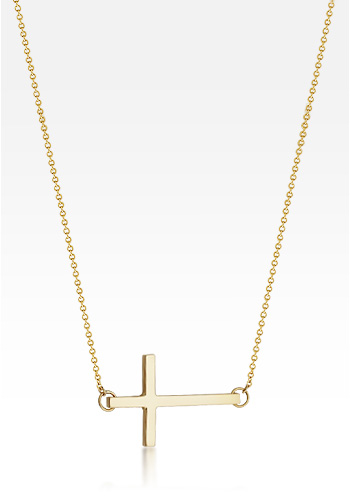 Kay Wicks - 1 inch, Solid 14k Gold Sideways Cross Necklace