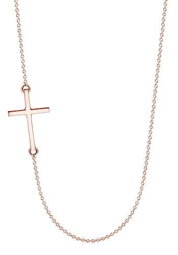 Kay Wicks - 1 inch Solid 14k Rose Gold Off-Center Sideways Cross Necklace