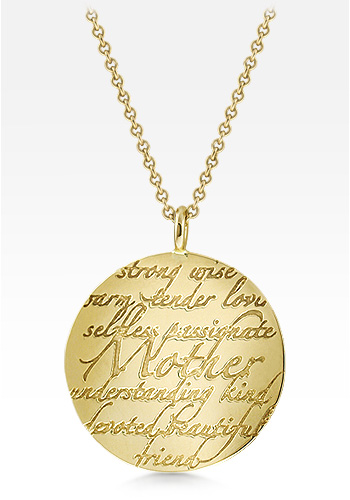 Kay Wicks - 14k Gold Large 1.25 Inch Mother Disc Charm Necklace (Engravable)