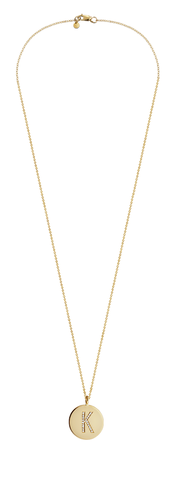 Kay Wicks - 5/8 inch Large 14k Gold Micro-Pave Diamond Initial Disc Necklace (G-H/VS-2 Engravable)