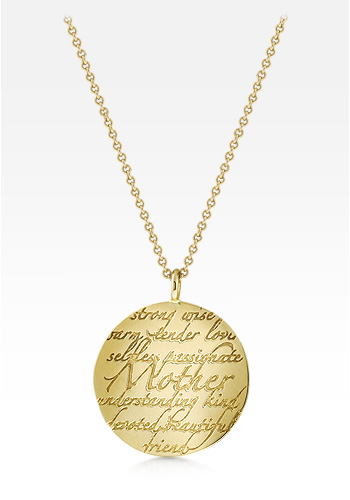 Kay Wicks - 14k Gold Small Mother Disc Charm Necklace (Engravable)