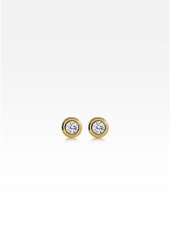 Kay Wicks - 18k Gold Bezel Set Round Diamond Stud Earrings (0.60 ctw.)