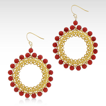 Kay Wicks - 18k Gold Plated Coral Bead Hoop Earring (SOLD OUT)