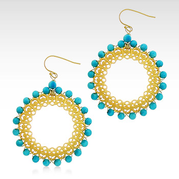 Kay Wicks - 18k Gold Plated Turquoise Bead Hoop Earrings (SOLD OUT)
