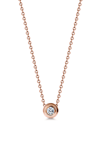 Kay Wicks - 18k Rose Gold 8mm Bezel Set Diamond Solitaire Necklace (G-H/VS, 0.20 ctw.)