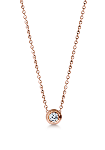 Kay Wicks - 18k Rose Gold 8mm Bezel Set Diamond Solitaire Necklace (G-H/VS, 0.30 ctw.)