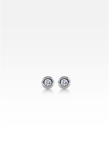 Kay Wicks - 18k White Gold Bezel Set Round Diamond Stud Earrings (0.40 ctw.)