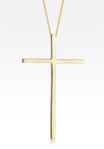 Kay Wicks - 2 inch, Long Solid 14k Gold Cross Necklace
