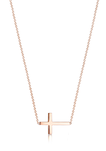 Kay Wicks - 3/4 inch 14k Rose Gold Sideways Cross Necklace