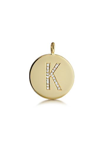 Kay Wicks - 5/8 inch, 14k Gold Medium Diamond Initial Disc Pendant (0.05 ctw)