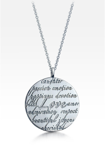 Kay Wicks - Sterling Silver Large 1.25 Inch Love Disc Charm Necklace (Engravable)