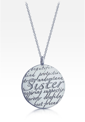 Kay Wicks - Sterling Silver Large 1.25 Inch Sister Disc Charm Necklace (Engravable)
