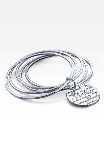 Kay Wicks - Sterling Silver Mother Charm Stack Bangle Bracelet (Engravable)