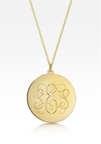 1.25 inch Solid 14k Gold Monogram Disc Charm Necklace (Engravable)