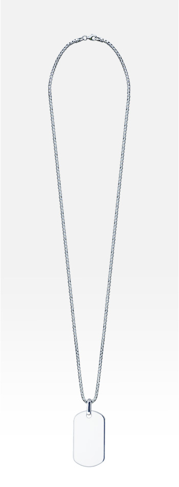 Mens Sterling Silver Large Smooth-Edge Dog Tag Necklace w/ Box Chain (Engraved)