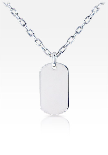 Mens Large Sterling Silver Smooth Edge Dog Tag Necklace w/ Oval Link Chain (Engravable)