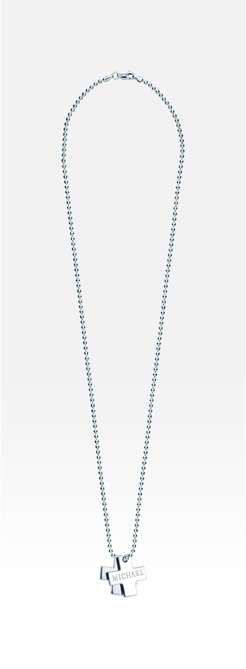 Men's Dual Sterling Silver Greek Cross Tag Necklace w/t Ball Chain