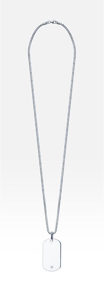 Men's Large Smooth-Edge Sterling Silver 0.03 ct. Diamond Dog Tag Necklace w/t Box Link Chain (Engravable)