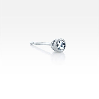 Men's Single 14k White Gold Bezel-Set Diamond Stud Earring (0.25 ctw.)