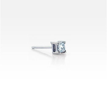 Men's Single 14k White Gold Princess-Cut Diamond Stud Earring (1/5 ctw)