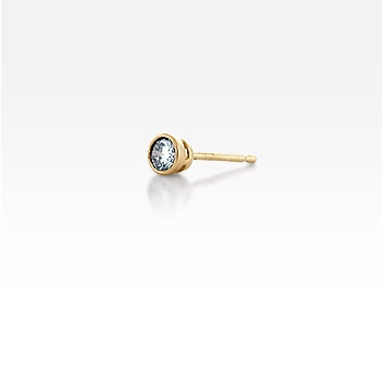 Men's Single 14k Yellow Gold Bezel-Set Round Diamond Stud Earring (1/5 ctw.)