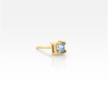 Men's Single 14k Yellow Gold Princess-Cut Diamond Stud Earring (1/5 ctw.)