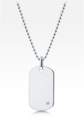 Mens Sterling Silver Dog Tag Necklace w/ 0.05 ctw Diamond Accent and Ball Link Chain (Engravable)